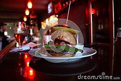 Burger in a bar