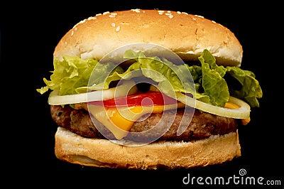 Burger On Black Royalty Free Stock Photography - Image: 940097
