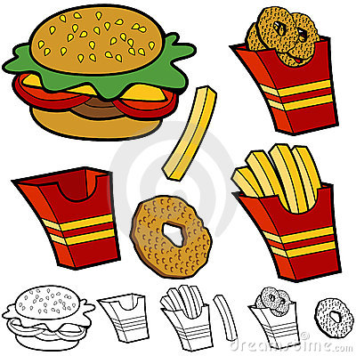 Burger Fries Onion Rings Set