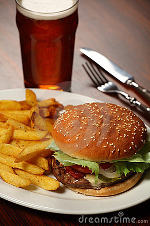 Burger and fries at a Pub