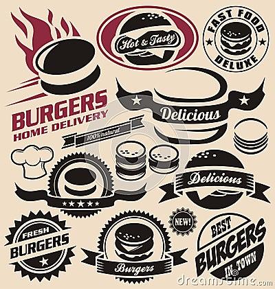 Burger icons, labels, signs, symbols and design elements