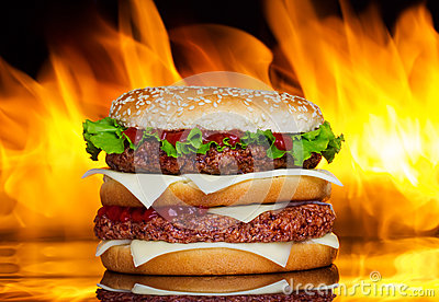 Burger over fire