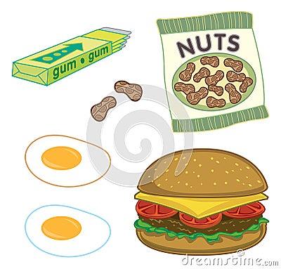 Burger, peanuts, gum, eggs