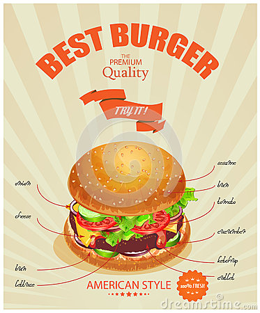 Burger poster in american traditional vintage style stock for American style cuisine