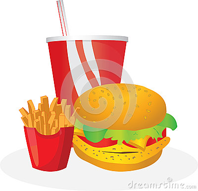 Free Burger With Drink And French Fries Stock Photos - 57274213