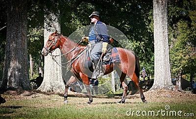 Burgeroorlog Algemeen op Horseback Redactionele Fotografie