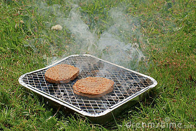 Burgers on Disposable Barbeque