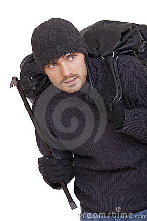 Burglar with black bag
