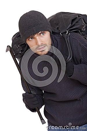 Burglar with black bag