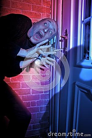 Free Burglar Getting Caught By Door Stock Image - 13545551