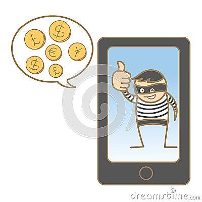 Burglar hacking mobile