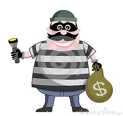 Burglar Holding Bag of Money and Flashlight