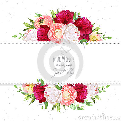 Free Burgundy Red And White Peonies, Pink Ranunculus, Rose Vector Design Frame. Royalty Free Stock Photos - 76459828