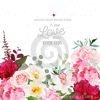 Burgundy red peonies, pink rose, hydrangea, orchid vector design card Vector Illustration