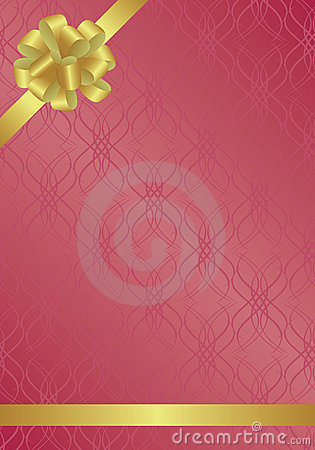 Burgundy vector card with golden bow-knot