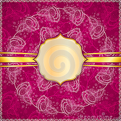 Burgundy vector flowers ornate background