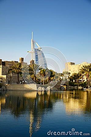 Burj Al Arab and Madinat Jumeirah in Dubai Editorial Photo
