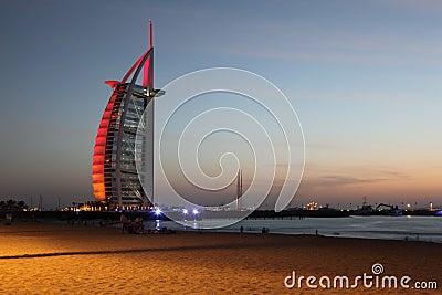 Burj Al Arab skyscraper near evening beach Editorial Photo