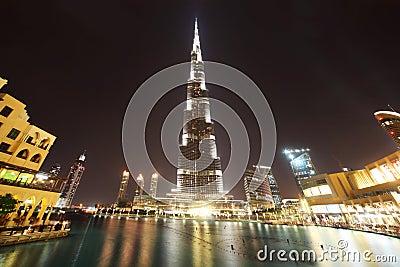 Burj Dubai skyscraper and fountain night time