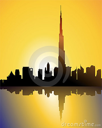 Burj dubai at sunset