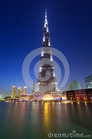Burj Khalifa in Dubai at night, UAE Editorial Photo