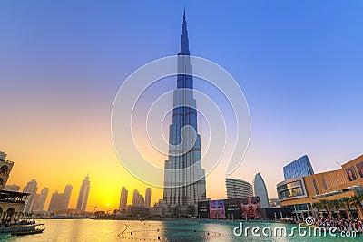 Burj Khalifa in Dubai at sunset, UAE Editorial Stock Image