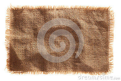 burlap canvas isolated with lacerate edge
