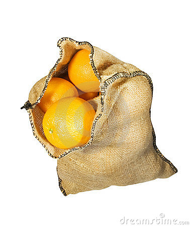 Burlap sack full of oranges isolated