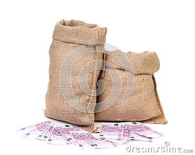 Burlap sack with money.