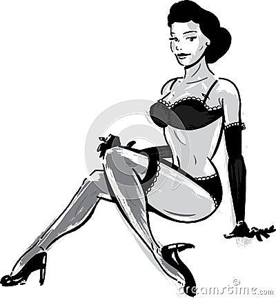 Burlesque dancer in underwear