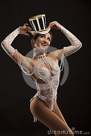 Burlesque Dancer In White Dress With Hat Stock Photo