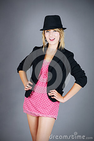 Burlesque young blond girl dancer