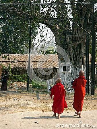 Free Burma. Monks Walk To Temple Royalty Free Stock Photo - 2331335