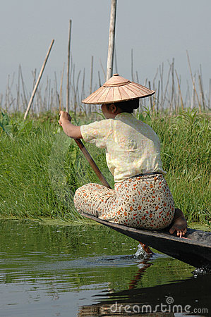 Burman woman on Inle Lake