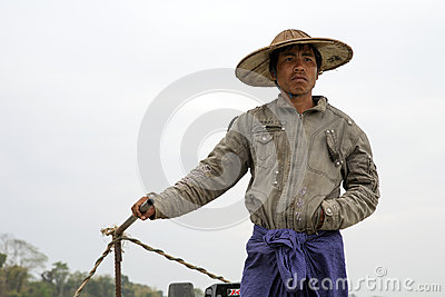 Burmese Boatman Editorial Photography