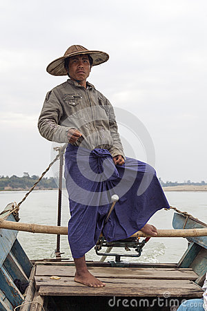 Burmese Boatman Editorial Photo