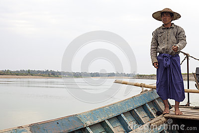 Burmese Boatman Editorial Image