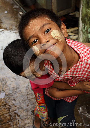 Burmese boys having fun Editorial Photo