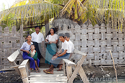 Burmese Family Editorial Photo