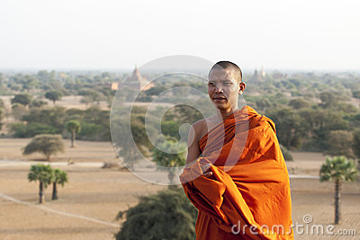Monk in Bagan Editorial Photo