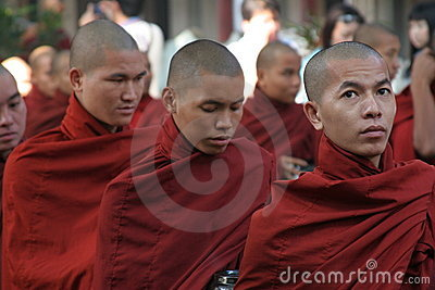 Burmese monks Editorial Stock Image