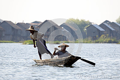 Burmese People Rowing Canoe Editorial Stock Photo
