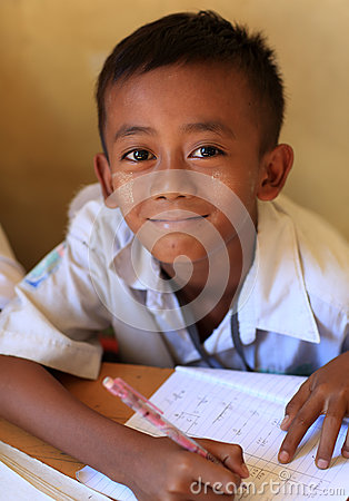 Burmese student at school Editorial Stock Image