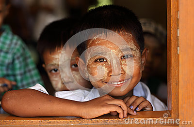 Burmese students at school Editorial Image