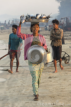Fishing Village - Ngapali Beach - Myanmar (Burma) Editorial Stock Image