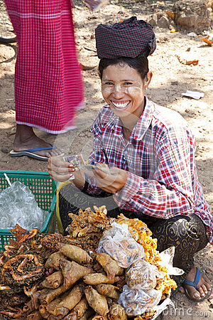 Burmese Woman Selling Snacks Editorial Stock Image