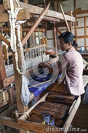 Burmese Woman Working Loom Editorial Photo