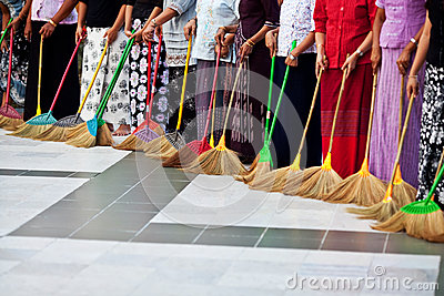 Burmese women washing the floor at Shwedagon Paya, Myanmar