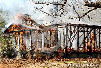 Burn down house fire