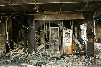 Burned atm machines, siam square. Editorial Stock Photo